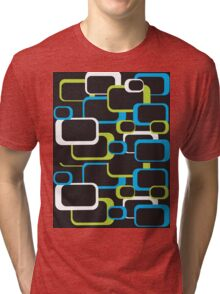 Lime Green, Turquoise and White Retro Square Tri-blend T-Shirt