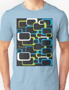 Lime Green, Turquoise and White Retro Square T-Shirt