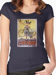 Cycles Clément 1898 Vintage Advertising Poster Women's Fitted Scoop T-Shirt
