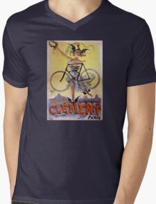 Cycles Clément 1898 Vintage Advertising Poster Mens V-Neck T-Shirt