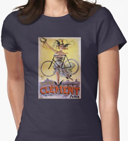 Cycles Clément 1898 Vintage Advertising Poster Womens Fitted T-Shirt