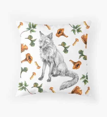 Sitting fox with leaves and mushrooms Throw Pillow