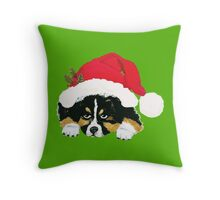Black Tri Australian Shepherd Christmas Puppy Throw Pillow