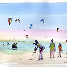 Watching the kite surfers - Altona Beach by Karin Zeller