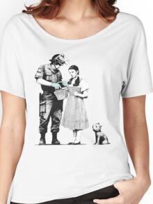 """Banksy """"Stop and Search"""" Women's Relaxed Fit T-Shirt"""
