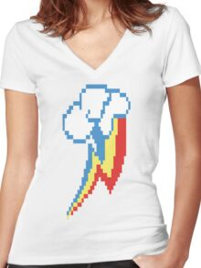 8-Bit Rainbow Dash Cutie Mark Women's Fitted V-Neck T-Shirt