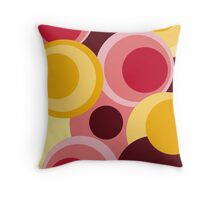 Retro big modern colorful circles red yellow pink pattern Throw Pillow