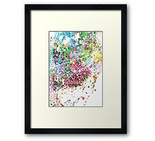 Barcelona splash map painting Framed Print