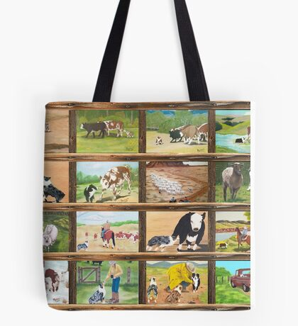 Stockdog ~ Working Australian Shepherd ~ Collage Tote Bag
