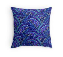 Blue and violet waves Throw Pillow