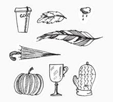 Autumn doodle pattern Baby Tee