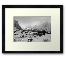 Elbow Pass valley V (b&w) Framed Print
