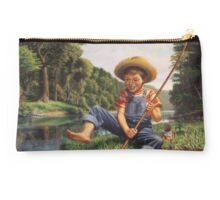 Boy Fishing In River Country Landscape  Studio Pouch