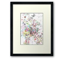 Amsterdam map watercolor painting Framed Print