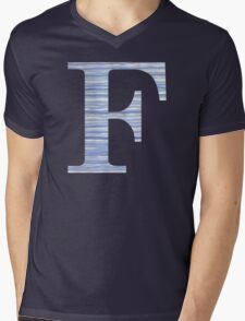 Letter F Blue Watercolor Stripes Monogram Initial Mens V-Neck T-Shirt
