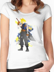 Final Fantasy 7: Cloud Strife Giclee Art Print Women's Fitted Scoop T-Shirt