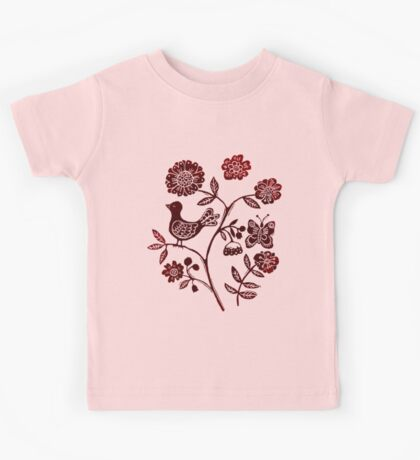 Spring Birds and Butterfly Kids Tee