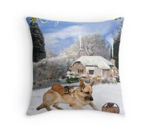 French German Shepherd Holiday Throw Pillow