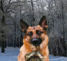 Russian Holiday German Shepherd and puppy by Eric Kempson