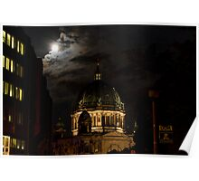 Moon, Church, Night. Poster