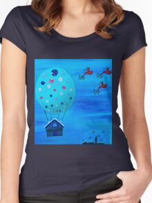 Snow Globe Hot Air Balloon Flying House with Birds Women's Fitted Scoop T-Shirt