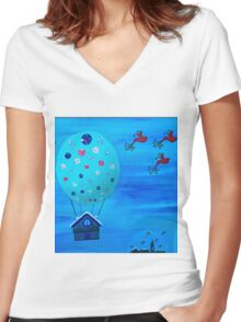 Snow Globe Hot Air Balloon Flying House with Birds Women's Fitted V-Neck T-Shirt