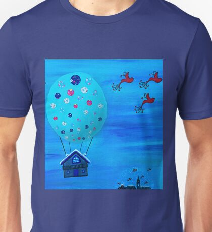 Snow Globe Hot Air Balloon Flying House with Birds Unisex T-Shirt