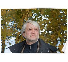 Portrait of middle-aged man in autumn day. Poster