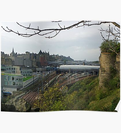 View over to Waverley Station, Edinburgh Poster