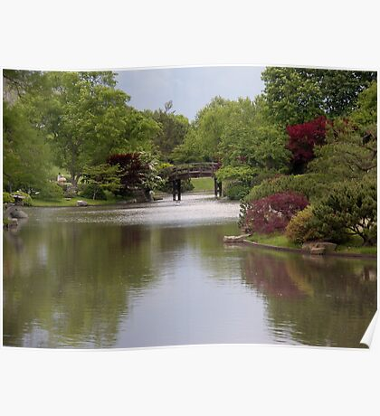 Shimmering Water in a Japanese Garden Poster