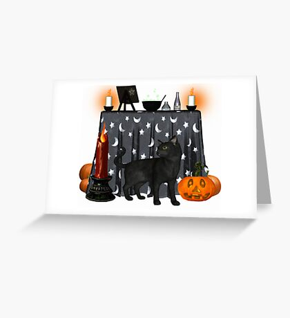 Witches cat .. October  Greeting Card