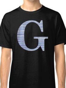 Letter G Blue Watercolor Stripes Monogram Initial Classic T-Shirt