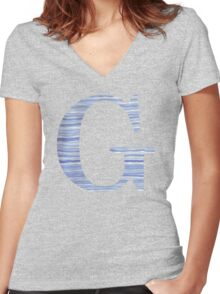 Letter G Blue Watercolor Stripes Monogram Initial Women's Fitted V-Neck T-Shirt