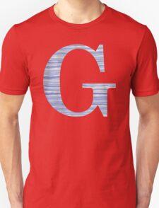 Letter G Blue Watercolor Stripes Monogram Initial Unisex T-Shirt