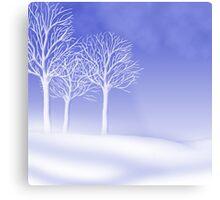 Woodland in Winter Scene Metal Print