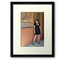 Beauty woman at retro poster. Framed Print