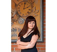 Beauty woman at retro poster with clock. Photographic Print
