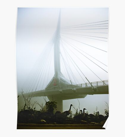 Foggy Waterfront 10 Poster