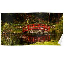 Red Japanese Bridge Poster