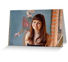 Beauty red-haired girl. Greeting Card