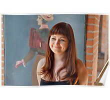 Beauty red-haired girl. Poster