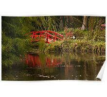 Red Japanese Bridge Reflected Poster