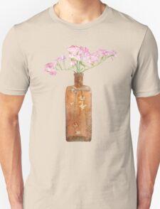 Vintage Bottle With Dry Pink Limonium Flowers Unisex T-Shirt