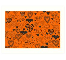 orange hearts Art Print