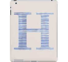 Letter H Blue Watercolor Stripes Monogram Initial iPad Case/Skin