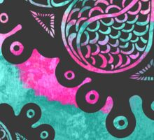 Floral Tangle Drawing on Teal and Pink Paint Sticker