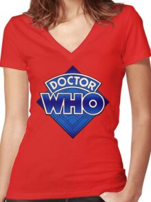 Doctor Who - Diamond Logo Blue gradient. Women's Fitted V-Neck T-Shirt