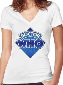 Doctor Who Diamond Logo Blue gradient. Women's Fitted V-Neck T-Shirt