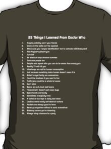 25 Things I've Learned from Doctor Who T-Shirt