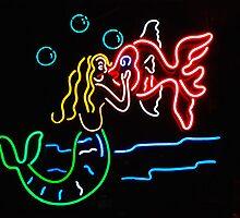 Mermaid and Fish Neon Sign by Karin  Hildebrand Lau